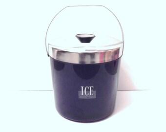 Vintage Ice Bucket - Typographic Ice Bucket - Vintage Font - Vintage Bar - Black and Chrome - Mad Men - Man Cave
