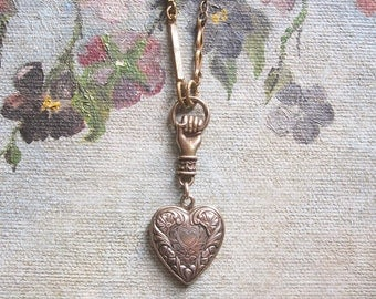 Heart Locket Necklace / Vintage Assemblage Jewelry / Romantic Keepsake Gift / OOAK