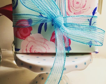 Gift Wrap 6 foot rolls of Shabby Chic Watercolor Roses on Pale Green with Hand-drawn vines