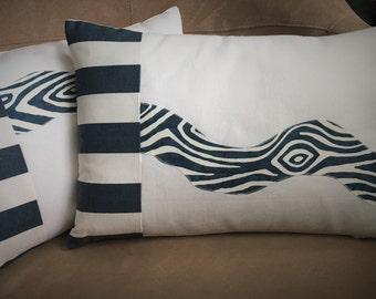 Nautical Pillow Navy and White Pillow // Nautical Decor // Nautical Home Decor // River Pillow 1