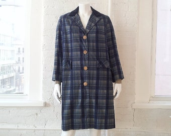 Blue Plaid Trench Coat 1960s Vintage Raincoat Medium Large Velvet Collar Mod Preppy Madras 60s Overcoat 1950s Trench Coat 50s Plaid Raincoat