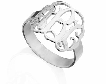Monogram Ring - 925 sterling silver personalized ring bridesmaid gift ring
