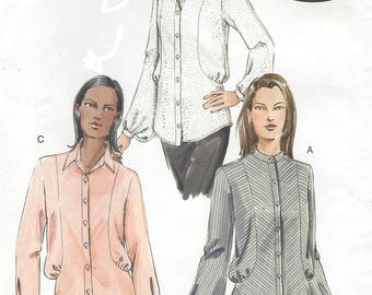 Womens Bias Cut Shirts Collar Variations Button Front Shirts OOP Vogue Sewing Pattern V7936 Size 12 14 16 Bust 34 36 38 UnCut