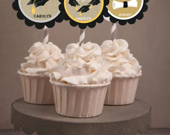 Graduation 2017 Cupcake Toppers, Graduation Cupcake Toppers, Hats off to you, You did it toppers. Classroom treats or tags  Set of 24.