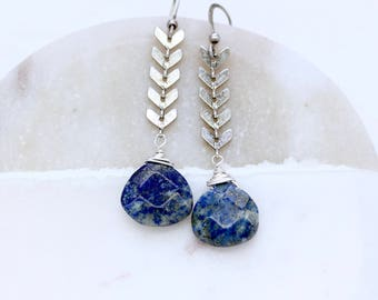 Blue Lapis Silver Earrings, Rustic Silver Earrings, Silver Drop Earrings, Silver Dangle Earrings, Tribal Silver Earrings, Arrow Earrings