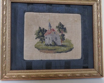 Vintage Micro Petit Point framed / mini 4 3/4 by 5 3/4 inches / wood frame / Pastoral motif / 1800s