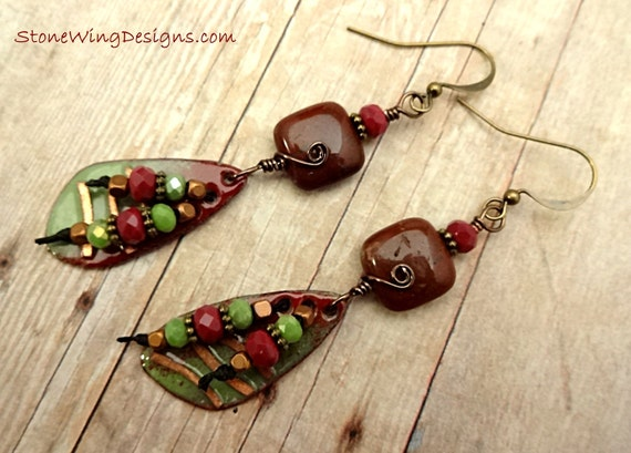 Artisan Enamel, Poppy Jasper and Czech Firepolish Earrings