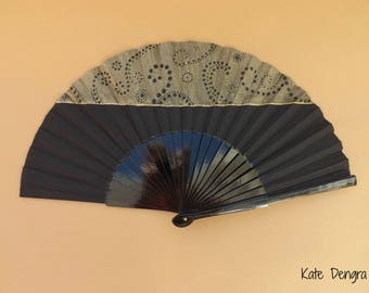 Black and Gold Half Dottilism Hand Fan SIZE OPTIONS Folding Wooden Flamenco Handheld Spanish from Spain Hand Painted by Kate Dengra
