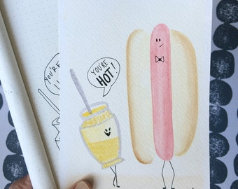you're hot, hot dog and mustard: 5x7 flat card with envelope
