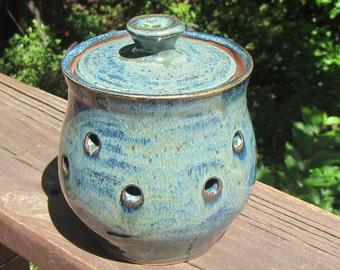 Ceramic Garlic Keeper with Lid, Storage Jar Container, Lidded Holder Handmade Wheel Thrown Pottery - Midnight Blue & Verte Lustre Glaze