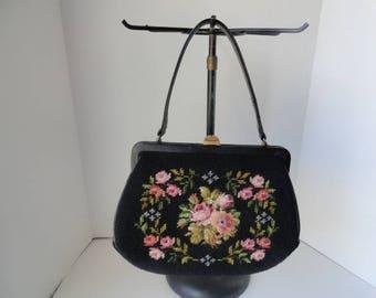 1940s Vintage Black Tapestry Handbag  Top Handle Black Needlepoint Purse  Leather Lined Black Carpet Handbag Victorian Tapestry Pink floral