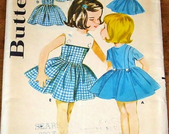 Butterick 2553 Girls Dress in Six Styles, Collar Sleeve Options, Full Skirt, Vintage 1960s Sewing Pattern Size 6 Chest 24 Uncut Factory Fold