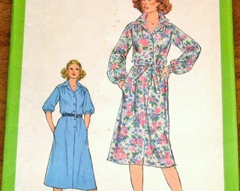 Vintage 1970s Sewing Pattern Simplicity 8679, Shirtwaist Dress, Shirt Dress with Tie Belt, Womens Misses Size 16 Bust 38 Uncut Factory Folds