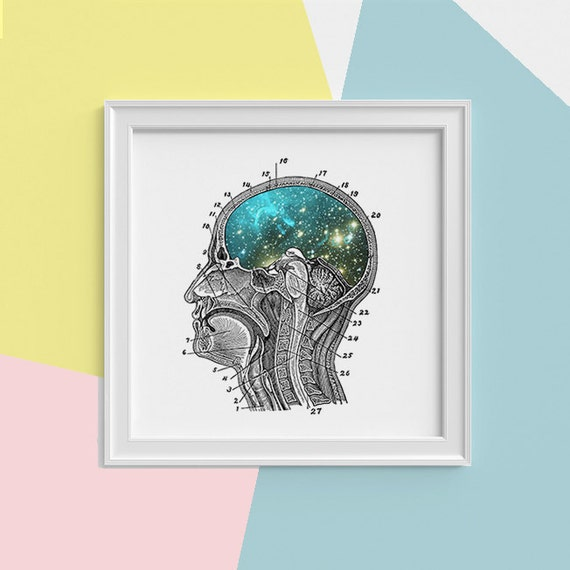 Spring Sale Galaxy Brain Print wall art Human anatomy print Science student gift Cosmic art print Universe and galaxy prints SQK112