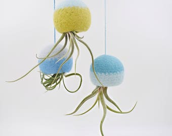 Air planter /  Octopus air plant hanger / hanging planter gift / Unique Air plant holder / Air plant jellyfish / tillandsia / Set of three