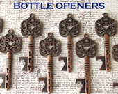 "Wedding Favors - Skeleton Key BOTTLE OPENERS – Set of 50 – Antique Copper – 3.25"" Long (80mm) –Vintage Style - Ships from USA."