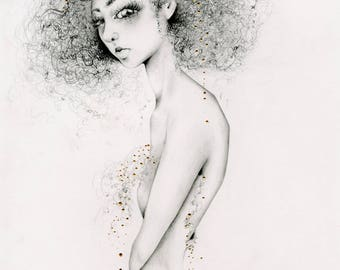 """Drawing of a Girl """"Queen"""" Women in Art Fine Art Giclee Print of my Original Pencil Drawing / Painting Gold Home Decor Women Wall Art for Her"""