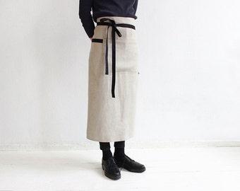 Long cotton apron, Apron, Natural aprons, Waist apron, Cotton half apron, Unisex apron, Apron for man, Apron for woman