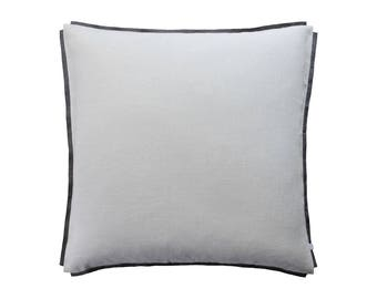 Natural linen pillow cover decorated with trim, Dove grey decorative pillow, Linen throw pillow cover, Linen accent pillow, Grey cushion