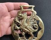 Antique dragon  HORSE BRASS Pendant -wales horse brass finding  - craft supply  - dragon brass No.002051