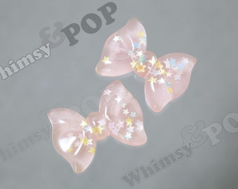 5 - OVERSTOCK SALE Kawaii Pastel Star Glitter Transparent Pink Bow Resin Decoden Cabochons, Bow Cabochons, Cute Bows, 34mm x 26mm (C1-33)