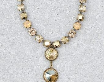 Rose Gold Gray Opal Necklace Swarovski Crystal Grey Ombre Vintage Crown Necklace Bridal Lariat Rhinestone Tennis Necklace Victorian Crown