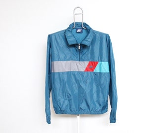 Vintage Nike Windbreaker Jacket Mens Medium Unisex Womens Blue 80s 1980s Pullover Striped Multi Color Block