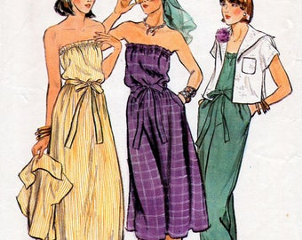 1970s Strapless Dress or Jumpsuit and Waist Length Jacket Pattern Vogue 9540 Vintage Sewing Pattern Boho Summer Outfit Bust 32.5