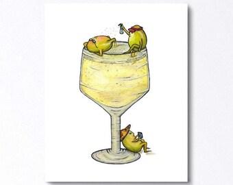 WINE Spritzer - ART PRINT - Illustration, bar art, wine, cocktail, home decor, bar decor, champagne