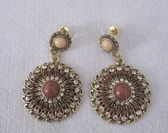 Boho Influenced Light Chocolate n Latte Beaded Medallion Dangling Earrings