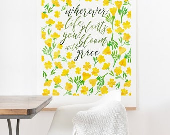 Bloom with Grace ready-to-hang large oversized watercolor print , housewarming gift new house decor , yellow flowers botanical wall decor