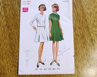 "MOD 1960s Flattering A Line Dress w/ Princess Seaming - Half Size 18.5 (Bust 41"") - VINTAGE Sewing Pattern Butterick 5193"