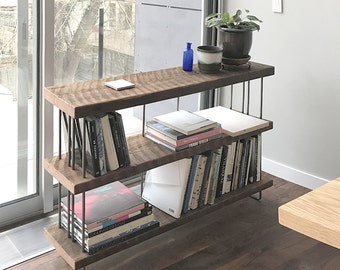 modern industrial book shelf from reclaimed wild wood and recycled content steel - bookshelf - shelving - three (3) shelves option