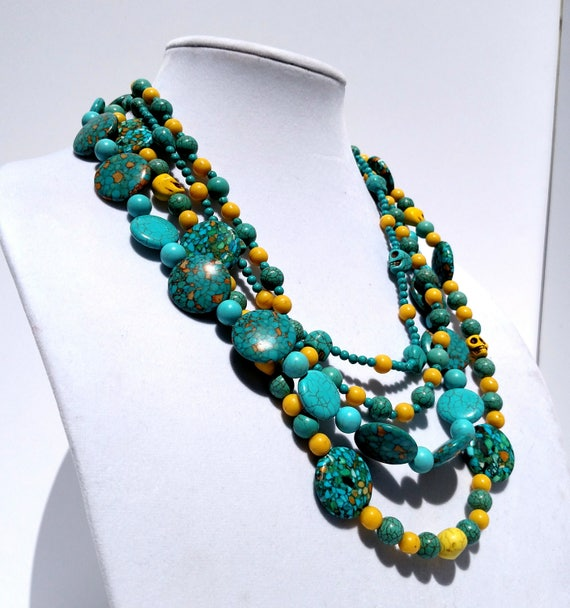 Turquoise and Yellow Multi-Strand Beaded Necklace with Skulls