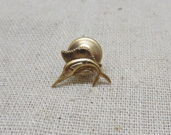 Vintage 14KT Gold Swordfish Tie Tack or Lapel Pin