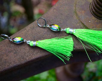 Neon Green Tassel Earrings boho jewelry long silk tassel with pink and green rhinestone bright colorful handmade eye catching jewelry gift