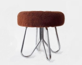 Vintage Brown Faux Fur Padded Foot Rest Ottoman Stool with Chrome Foot 70s