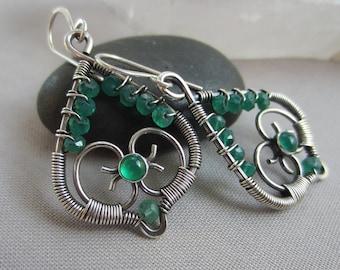 Silver Wire Earrings/ Wire Earrings with Green Onyx/ St. Patrick's Day Earrings/ Artisan Silver Earrings/ Tarnished Silver Earrings