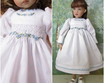 "Smocked Dress Ensemble for 13"" Little Darling 14"" Kish-White Liberty of London-Juried Stitchery Artist-Free US Ship"