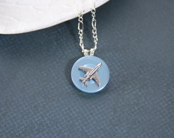 Airplane Necklace Plane Pilot Flight Travel Pendant - made with a metal pin