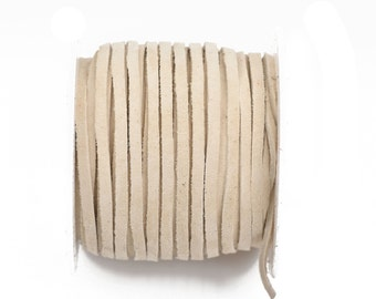 """1/8"""" Suede Leather Lace, IVORY, real leather by the yard, Realeather made in USA, 3mm wide, 25 yards, Lth0031"""