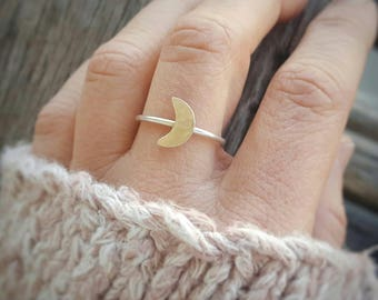 CRESCENT Sterling Silver Ring by MOONDROPS /// Artisan~Made Minimalist Jewelry /// Skinny Delicate Stacking Ring