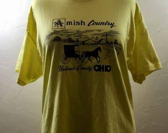Amish T Shirt, Vintage Tee, Yellow T Shirt, Holmes County, Ohio Vintage, Ohio Tourist Shirt, Amish Ohio, Ohio T Shirt, XL Vintage Tee, Ohio