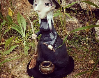 Mildred Periwinkle, ooak clay art doll fantasy witch wiccan sorceress magic magician spells