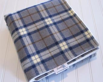 Baby Blanket/Stroller Blanket/Lap Blanket/Large Plaid Steel/Organic Sherpa Backing