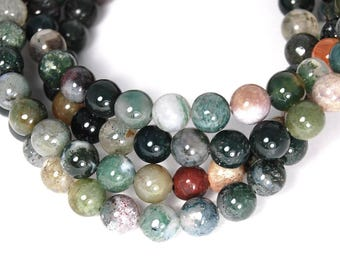 Indian Agate 6mm Round Stones -15 inch strand