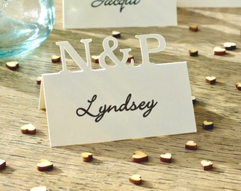 wedding place cards personalised initials place cards table place cards table cards