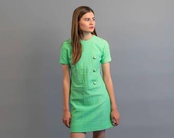 60s Mod Mini Dress / Vintage 60s Dress / Floral Mod Dress / Floral Embossed Dress Δ size: M