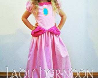 Princess Peach Dress - Sizes 2T, 3T, 4T, 5, 6, 7, 8 and 10