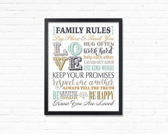 Family Rules Print, Family Rule sign, Digital Prints, printables, house rules sign, family pules poster, Best Selling Item, Digital Prints